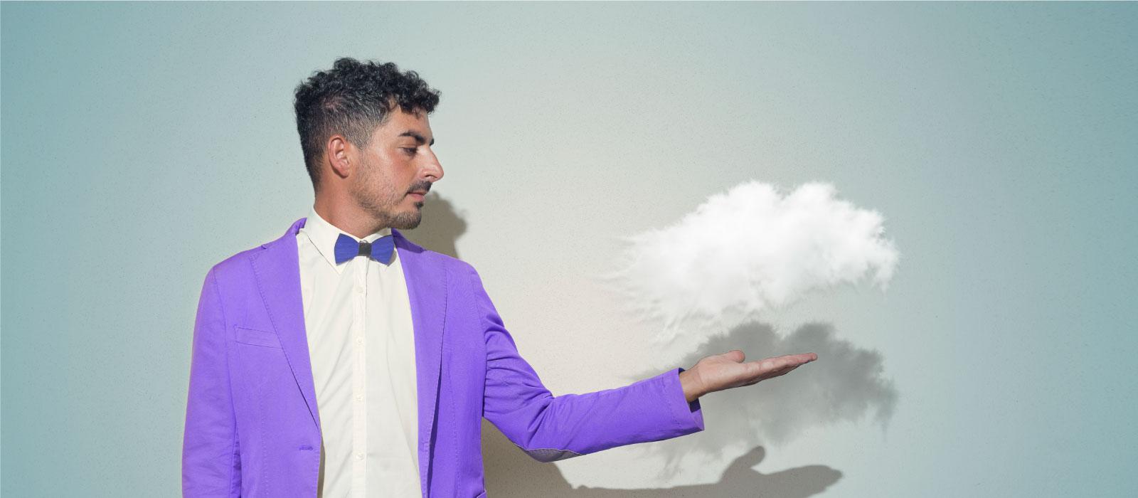 Cloud over a man's hand